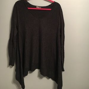 Neiman Marcus Wool Cape Style Top Size M Gray